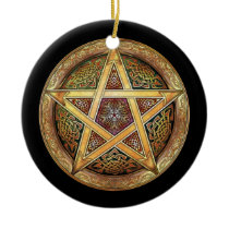 Golden Pentacle Pendant/Ornament Ceramic Ornament