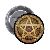 Golden Pentacle Round Button