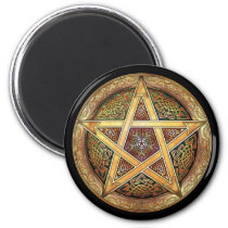 Golden Pentacle Round Magnet