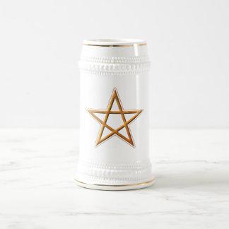 Golden Pentagram - Gold Pentagram Pagan Symbol Beer Stein
