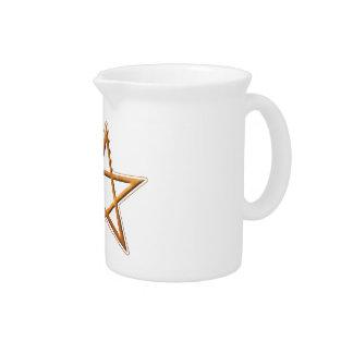 Golden Pentagram - Gold Pentagram Pagan Symbol Drink Pitcher
