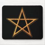 Golden Pentagram - Gold Pentagram Pagan Symbol Mouse Pad