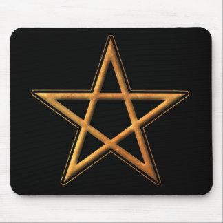 Golden Pentagram - Gold Pentagram Pagan Symbol Mousepads