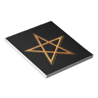 Golden Pentagram - Gold Pentagram Pagan Symbol Note Pad