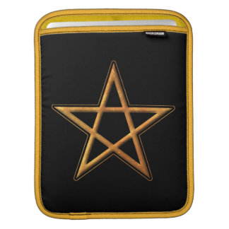 Golden Pentagram - Gold Pentagram Pagan Symbol Sleeve For iPads