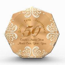 Golden Personalized Happy 50th Anniversary Gifts