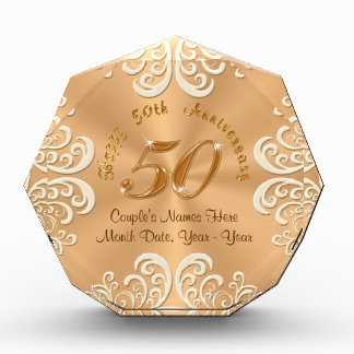 Golden Personalized Happy 50th Anniversary Gifts Award