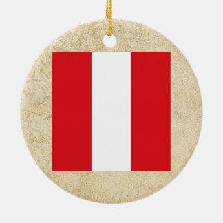 Golden Peru Flag Ceramic Ornament