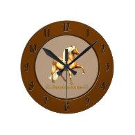 Golden Peruvian Horse Wall Clocks