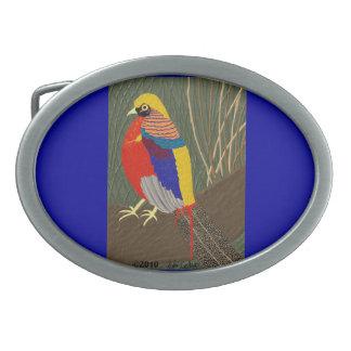 Golden Pheasant Oval Belt Buckle