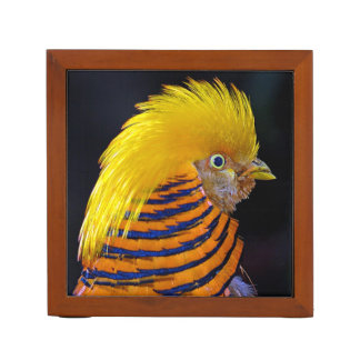 Golden pheasant print desk organizer