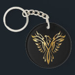 "Golden Phoenix Keychain<br><div class=""desc"">Classic gold and black design of a golden phoenix emblem set against a black background on gifts and accessories,  all available to customize and make personal to you.</div>"