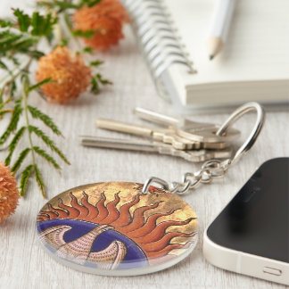 Golden Phoenix Rising From the Ashes Keychain