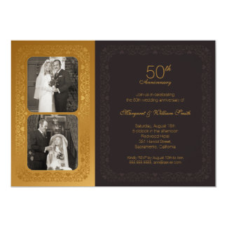 Golden Photos 50th wedding Anniversary Party Card
