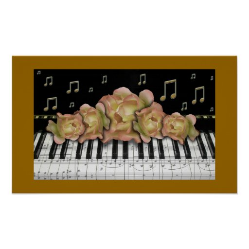 Golden Piano Keyboard Notes and Roses Poster