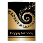 Golden Piano Keys and Gold Music Notes Greeting Card