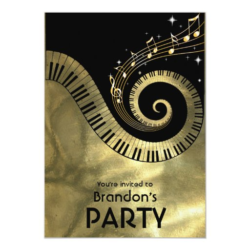 Golden Piano Keys and Gold Music Notes Party Card