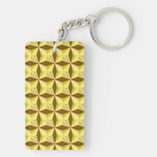 Golden Pillowed Squares on Brown Keychain