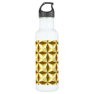 Golden Pillowed Squares on Brown Water Bottle