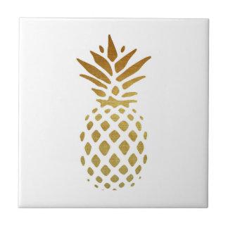 Golden Pineapple, Fruit in Gold Ceramic Tile