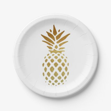 PatiDesigns Golden Pineapple, Fruit in Gold Paper Plate