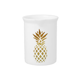Golden Pineapple, Fruit in Gold Drink Pitcher