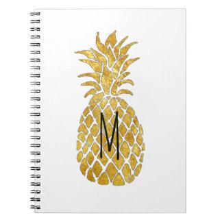 golden pineapple monogram notebook