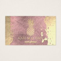 golden pineapple on rose gold paint stroke business card