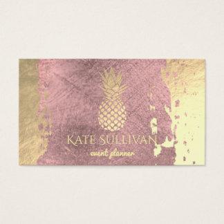 golden pineapple on rose gold paint stroke business card