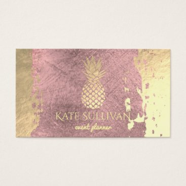 Professional Business golden pineapple on rose gold paint stroke business card