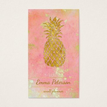 Professional Business golden pineapple on rose pink business card