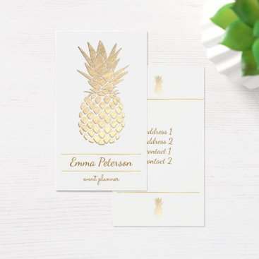 Professional Business golden pineapple on white business card