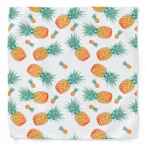 Golden Pineapple Pattern | Tropical Fruit Bandana