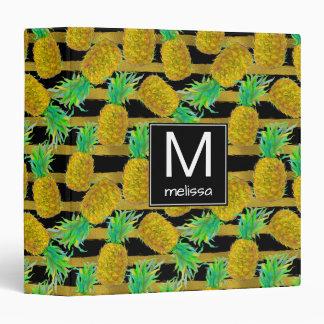 Golden Pineapples On Stripes | Monogram Binder