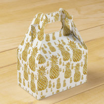 golden pineapples tropical pattern favor box