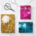 Golden Pink Blue Love Heart Shape Wrapping Paper Sheets