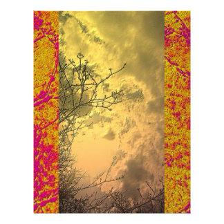 Golden Pink Border and limitless sky Letterhead
