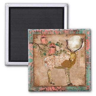 Golden Pink Gypsy Owls & Ornate Buck Magnet