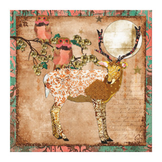 Golden Pink Gypsy Owls & Ornate Buck Moonlight Can Canvas Print