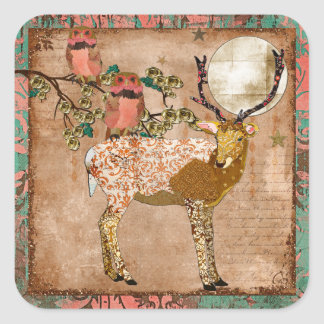 Golden Pink Gypsy Owls & Ornate Buck Sticker