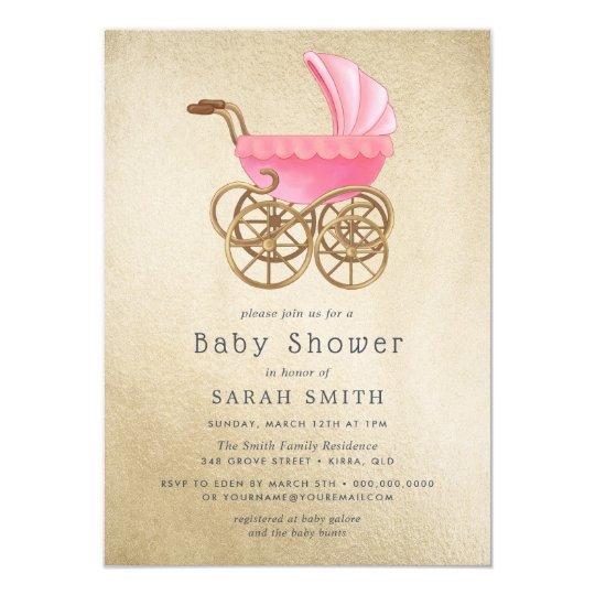 Golden pink pram girl vintage baby shower invite zazzle golden pink pram girl vintage baby shower invite filmwisefo