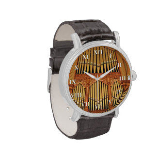 Golden pipes with roman numerals watch