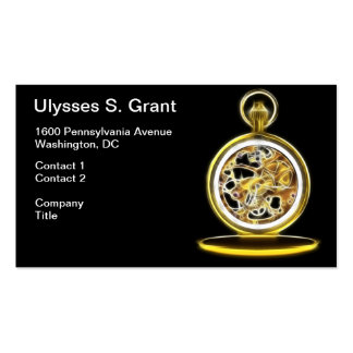 Golden Pocketwatch Pocket Watch Double-Sided Standard Business Cards (Pack Of 100)