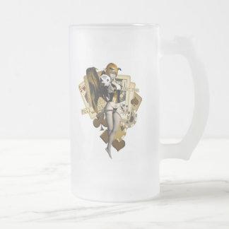 Golden Poker Girl 2 Frosted Glass Beer Mug