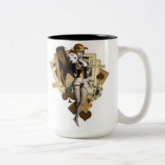 Golden Poker Girl 2 Two-Tone Coffee Mug