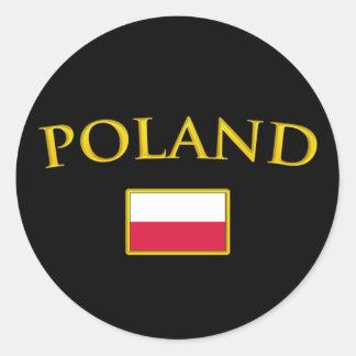 Golden Poland Classic Round Sticker