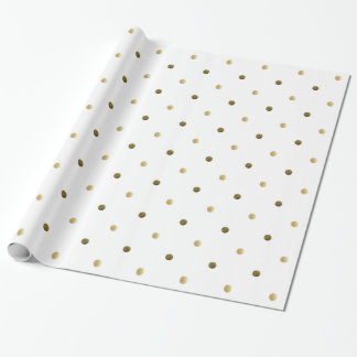Golden Polka Dots Gold And White Modern Design Wrapping Paper