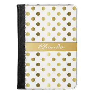 Golden Polka Dots Kindle Fire Folio Kindle Case at Zazzle