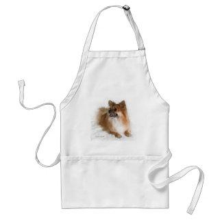Golden Pomeranian on Fluffy White Blanket Apron