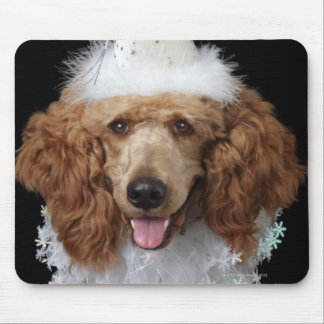 Golden Poodle Dog wearing a white clown costume Mouse Pad